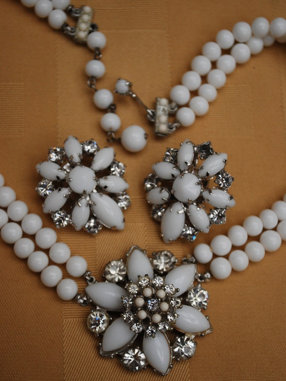 vintage white milk glass  rhinestone necklace and earrings