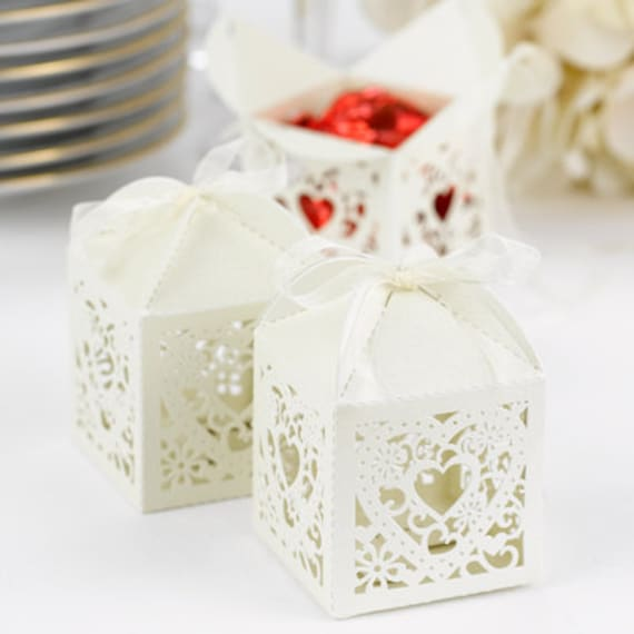 items similar to ivory decorative wedding favor boxes pkg of 25 on etsy. Black Bedroom Furniture Sets. Home Design Ideas