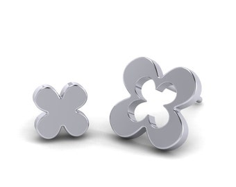 Asymmetrical clover shape Sterling Silver Earrings, Flat Clover Disc Studs, Lucky Charm Jewelry, Made by Gwen Park Designs