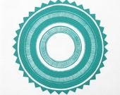 linocut- TURQUOISE SUN - 12x12 / printmaking / block print / geometric / blue green / contemporary