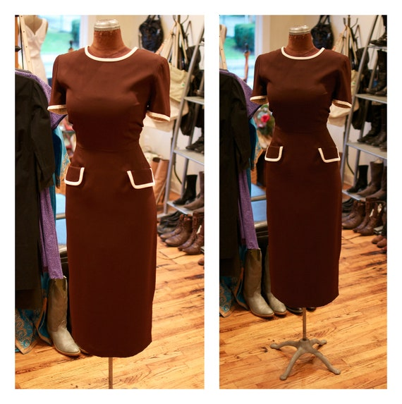 1980s does 1950s Wiggle Dress Day Dress Fitted Dress Brown with White Trim