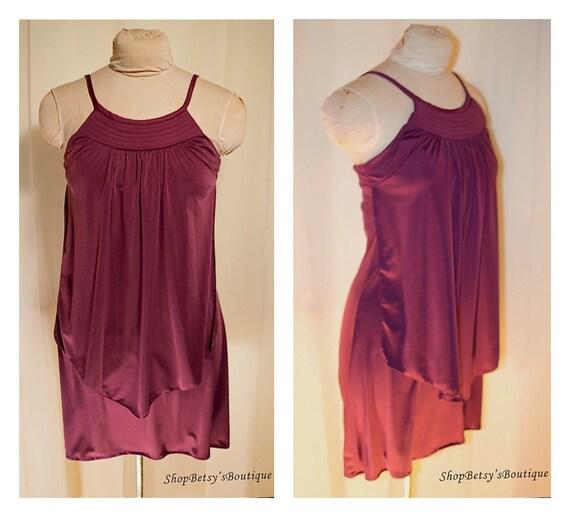 1970s Purple Mini Smock Dress Party Dress Body Con Mini Dress Sundress Shift Dress Remade Vintage Day Dress