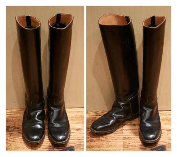 Size 9 Size 10 Black Leather Riding Boots Regent Tall Riding