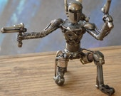 Hand Made BOBA FETT 8 inches Recycled Scrap Metal