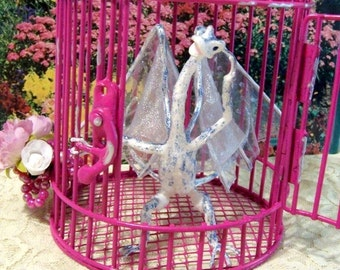 Dragon Caught in a Birdcage: White Fairy Dragon Art Doll, Clover