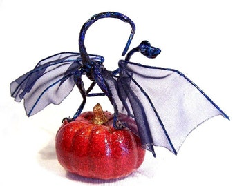 Fairy Dragon: Midnight and the Pumpkin, Blue Halloween Dragon Art Doll