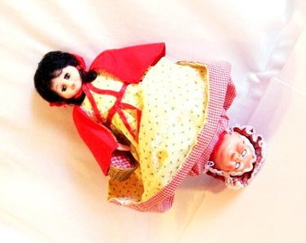 Fairy Tale Doll: Topsy Turvy Red Riding Hood / Grandma Vintage Doll - S1023