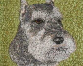 Schnauzer Embroidered Towel Or Patch Or Card Gift For