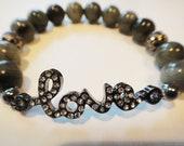 Labradorite womens healing crystal bracelet: beaded, beads, metaphysical, gemstones, Buddhist, new age, yoga, zen