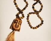 Tiger Eye Buddha Mala - 108 beads, metaphysical, crystals, necklace, meditation, new age, zen, spiritual, yoga inspired