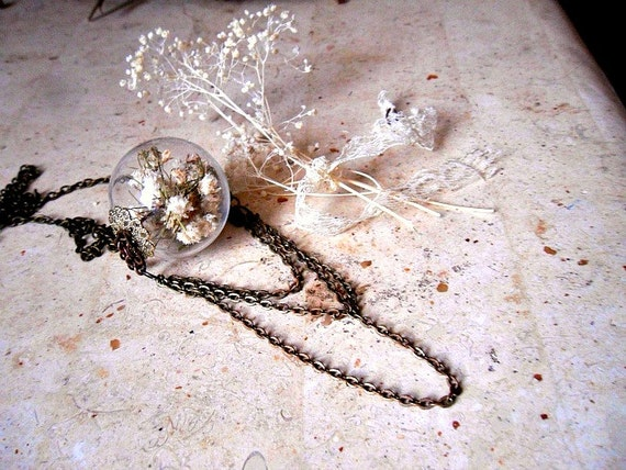Romantic Baby's Breath Orb Pendant
