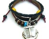 Bracelet-antique Silver Anchor bracelet and  leather bracelet, leather bracelet Hand-woven rope Beads