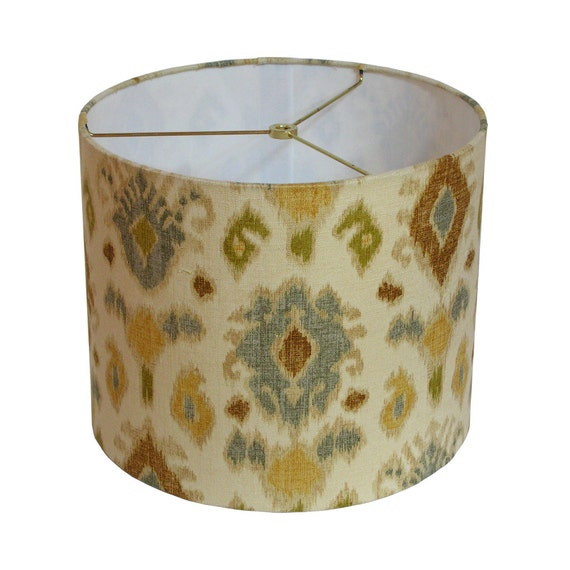 Sale Lamp Shade Drum 12 Inch Ikat Lampshade Blue By