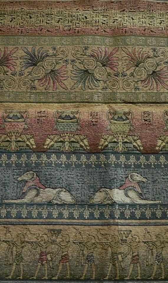 Egyptian Design Fabric - Brocade, Tapestry  - Sphinx, Horses, Hieroglypichs, Egyptian Figures