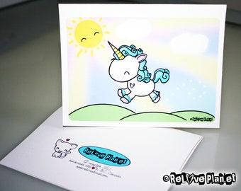 Prancing Unicorn Card - love birthday anniversary congratulations anything - ReLove Plan.et Art Print