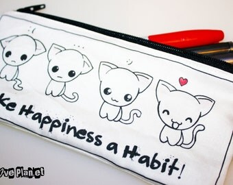 Make Happiness a Habit Zipper Purse Pouch - Kawaii Kitty Cats - Medium - Cosmetic Pencil Wallet - ReLove Plan.et