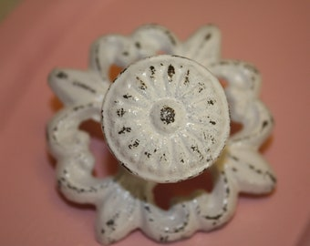 Chippy White Metal Knobs / Drawer Pulls / Antique Look