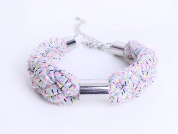 SALE - Neon braided cotton bracelet in lightgrey