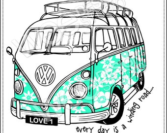 CAMPER VAN digital clipart graphics - png jpeg & eps (personal or commercial use)