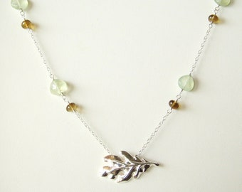 Sterling silver oak leaf necklace with prehnite and beer quartz, sterling silver jewelry OOAK
