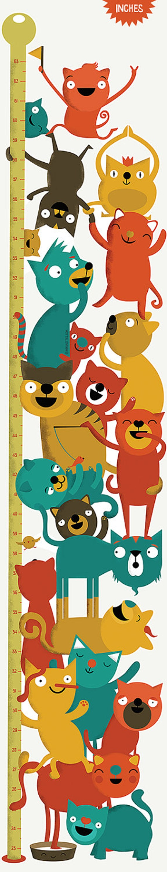 Height Chart of cats: Inch Wall Decor Growth Chart, Wall Vinyl Sticker for cat owners and cat lovers!