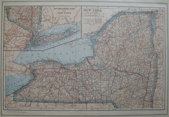 1917 Antique NEW YORK Map Vintage State Map BEAUTIFUL Color  Plaindealing 643