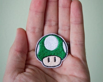 Tiny 1 Up Mushroom -- Tiny Nintendo Embroidered Iron-on Mario Patch