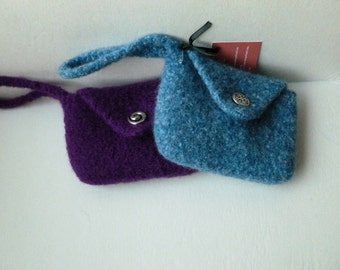 Felted Purse, Blue Heather and Purple Hand knit Felted Wristlet