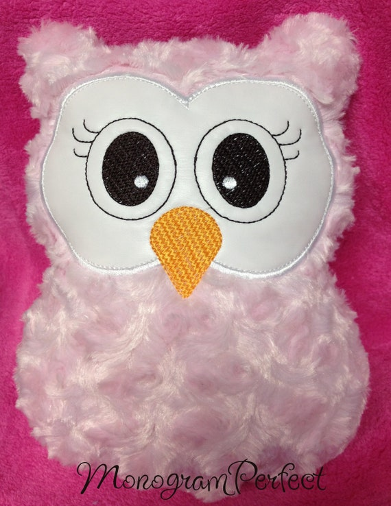 Soft Pink Fluffy Owl Pillow Great Baby Shower by MonogramPerfect