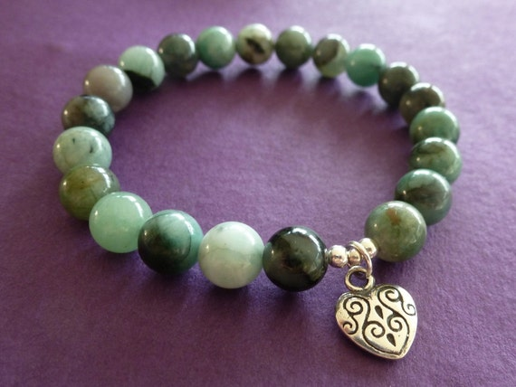Emerald Heart Chakra Bracelet with Sterling Silver Tribal Heart Charm, Reiki Charged, Free Shipping