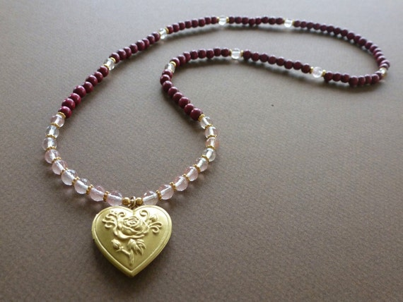 ROMANCE 108 Bead Mala Necklace with Cherry Quartz, Rose Quartz & Red Wood Beads - Gold Brass Heart Locket - Reiki Charged