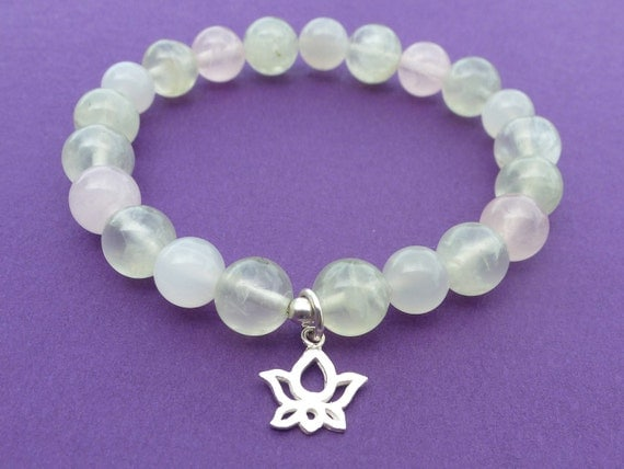 Emotional Balance with Prehnite, Moonstone & Rose Quartz - Sterling Silver Lotus Charm - Reiki Charged Bracelet
