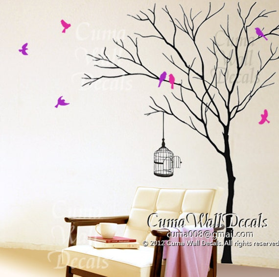 Tree Wall Mural Wallpaper Tree Wall Decal Birds Birdcage