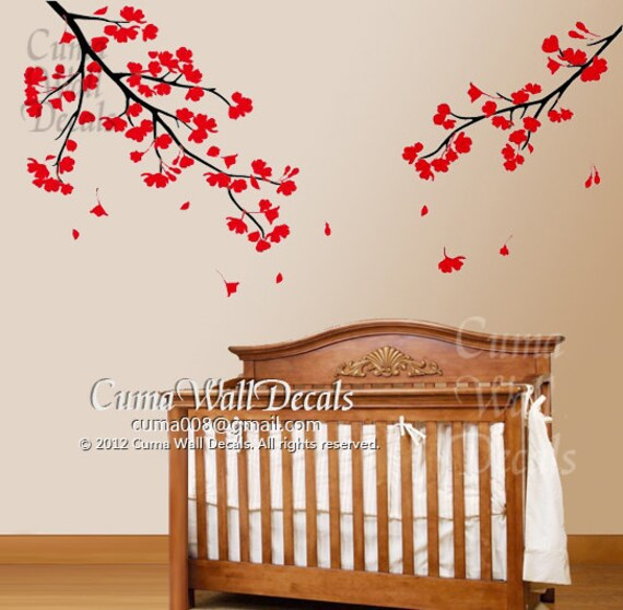 nursery wall decals red flower blossom vinyl wall decal by