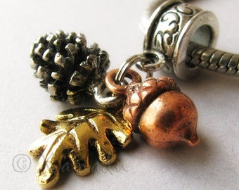 Autumn, Fall Treasures European Charm Bead With Silver Pine Cone, Copper Acorn And Gold Leaf Charms