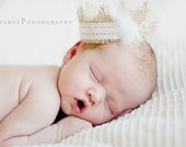 Shabby Chic Burlap and Lace Newborn Baby Photography Prop Crown