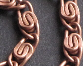 Copper Spiral Chain Bright Matte Finish Copper Plated Specialty Chain by Foot for Jewelry Making (1 FOOT)