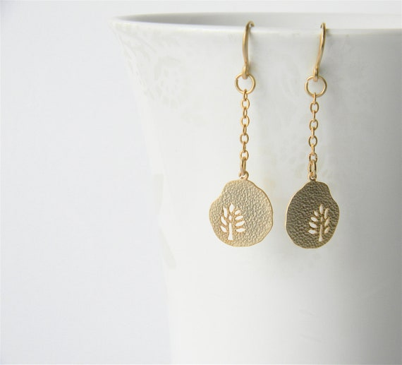 Gold Dangle Earrings - Gold Leaf Dangly Earrings on Matte Gold Chain