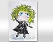 Girl Illustration. Blond girl. Girl art. Happy girl. Kid. Children. Funny painting. Gift. Nursery. Back to school. Original painting A4