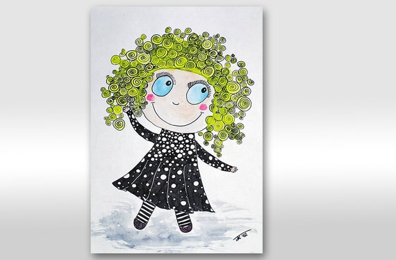 Girl Illustration. Blond girl. Girl art. Happy girl. Kid. Children. Funny painting. Gift. Nursery. Back to school. Original painting A4