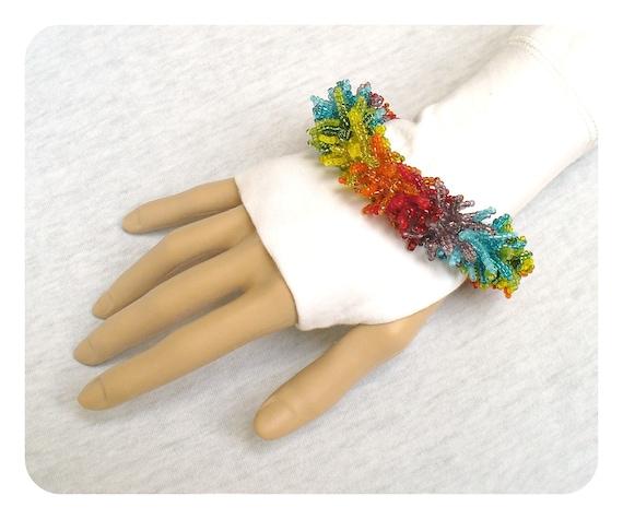 Statement Beadwork Bracelet - Rainbow Beaded Bracelet for Spring