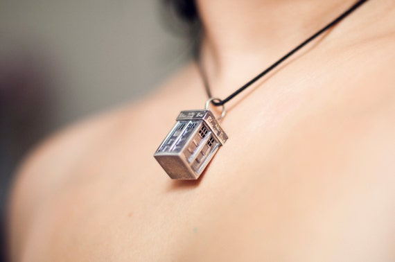Phone Box Police Box Necklace Pendant Sterling Silver Police Box