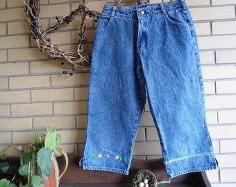 Girls OshKosh  hand embroidered denim capri size 12