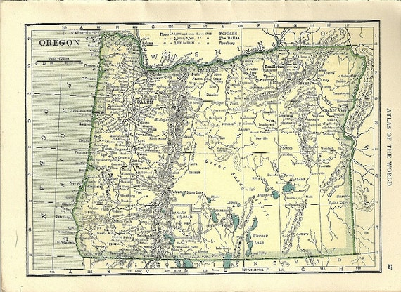 1907 Oregon / Washington State Map - Color Tinted w/ Railroads & Towns - Vintage / Antique State Map
