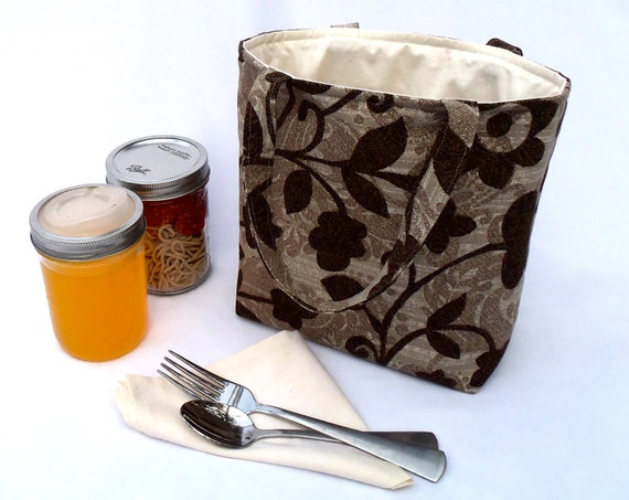 Jars to Go Bag - brown floral canning jar lunch tote