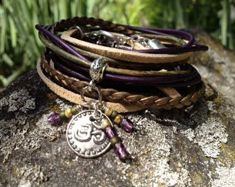 Boho Leather Wrap Bracelet, Yoga Inspired 3X Leather Beaded Bracelet,  Earth Tones, Green, Purple, Bronze and Beige, Om Charm