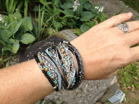 Boho Wrap Bracelet Multi Media,  Turquoise Picasso  Beads with Black and Silver, 3X wrap, Leather, Beaded and Silver plated Chains (LW-415)