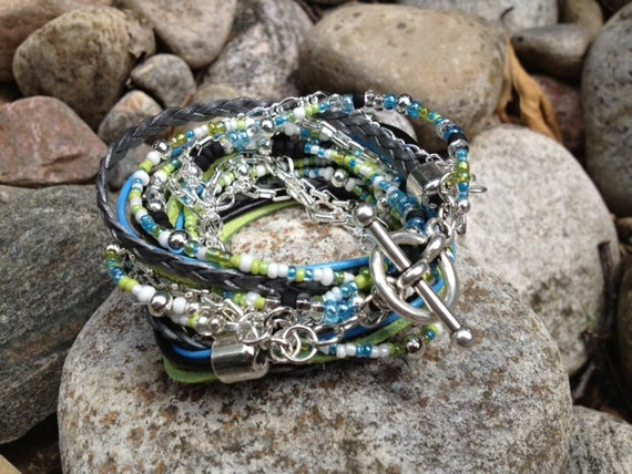 Boho Leather Beaded Wrap Bracelet Multi Media,  South Seas Mix with Lime Green, Sky Blue,Black and Silver, 3X wrap,  (LW-417)