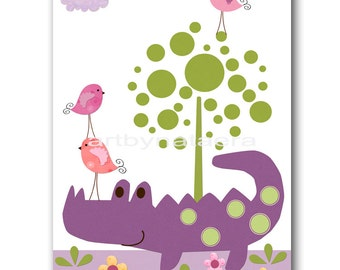 "Baby Nursery Decor Art for Children Kids Wall Art Baby Girl Room Decor Baby Girl Nursery print 8""x10"" Print crocodile bird decoration violet"