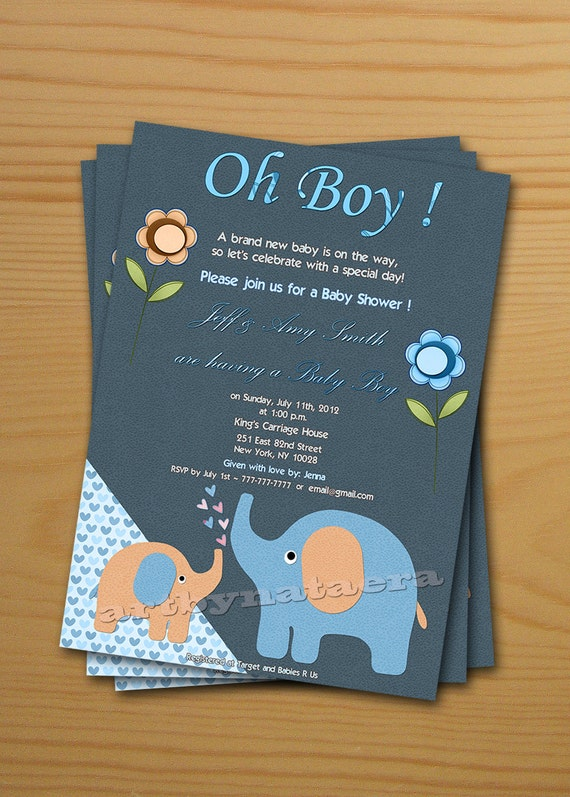 Boy Baby Shower Invitation FREE thank you card included Baby – Baby Shower Invitation Cards for Boys